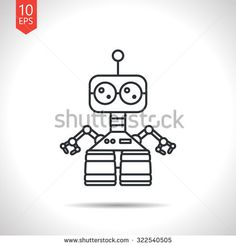 stock-vector-vector-outline-classic-grey-retro-robot-toy-icon-on-white-background-322540505.jpg (450×470)