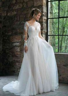 Wedding Dress 44061 by Sincerity Bridal - Search our photo gallery for pictures of wedding dresses by Sincerity Bridal. Find the perfect dress with recent Sincerity Bridal photos. Sincerity Bridal Wedding Dresses, Lace Wedding Dress, Long Wedding Dresses, Bridal Gowns, Wedding Gowns, Fairytale Wedding Dresses, Wedding Dress Body Type, Long Sleeve Wedding Dress Boho, Grecian Wedding
