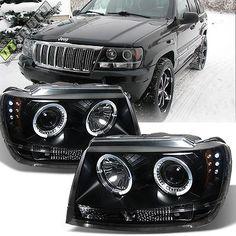 Black 99 04 Jeep Grand Cherokee Halo Angel Eye Led Projector Headlight 1999 2004