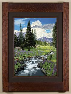 Blossoming Spring Meadow - The second in the Seasonal Landscape series, with Colorado as the backdrop. - Arts & Crafts - Craftsman - Bungalow - Keith Rust Illustration Framed Giclée Prints Blossoming-Spring-Meadow_Java-Xsml.png
