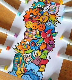 Cute Doodle Art, Doodle Art Designs, Doodle Art Drawing, Drawing Ideas, Graffiti Doodles, Graffiti Drawing, Graffiti Art, Unique Drawings, Colorful Drawings