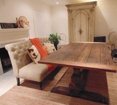 Farmhouse Pedestal Base Trestle Table