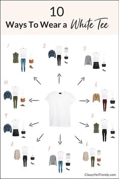 10 Ways To Wear a White Tee - See how to wear a white tee in 10 outfits, from the eBook, The Essential Capsule Wardrobe: Fall 2017 Collection.  Add a white tee to your closet and wear it with skinny jeans, ankle pants, burgundy jeans, olive jeans, utility vest, suede jacket, denim jacket, skirt, booties and flats. #wardrobebasicsfall2017