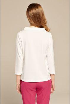 Ecru bluzka trapezowa ze stójką