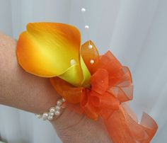 Orange calla lily wrist corsage champagne ivory or white pearls- lovely