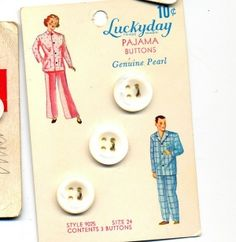 """(::)  """"Luckyday"""" """"Pajama Buttons"""" """"Genuine Pearl"""" vintage button card, """"10 cents"""" by jerry"""
