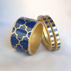 Navy blue wide cuff bangle bracelet by Chauci Charvet