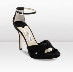 Jimmy Choo Marion Black Suede Platform Sandals