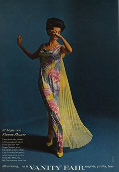 At Home in a Flower Shower 1965 All is Vanity…All is Vanity Fair Vanity Fair Clothing, 60 Fashion, Fashion Outfits, Vintage Glam Fashion, All Is Vanity, We Wear, How To Wear, 1950s Outfits, Flower Shower