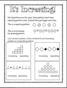 Patterns Unit - Repeating, Increasing, Decreasing Pattern Worksheet, Pattern Grading, Math Patterns, Number Patterns, Second Grade Math, Grade 2, Fun Math, Math Games, Math Place Value