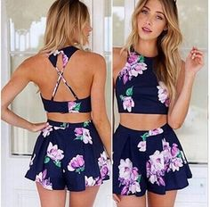 Feelingirl 2015 New Backless Casual Crop Top And Skirt Set Off 2 piece set women Sexy O-Neck Strap Mini Print Blue Skirts = 1697094148