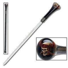 Sword Cane - Raging Pirate Skull   True Swords