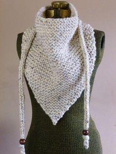 Hand Knit Triangle Scarf Neutral Oatmeal or YOUR COLOR CHOICE Bandana Scarf Triangle Cowl Triangle Shawl Cowgirl Neckwarmer Fall Fashion.