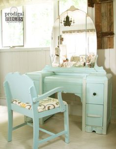 Gorgeous Art Deco Waterfall Dressing Table Vanity with Upholstered Bench ~ Retro Glam ~ Aqua Blue & Cream
