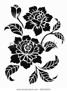 Find Flower Motif Sketch Design stock images in HD and millions of other royalty-free stock photos, illustrations and vectors in the Shutterstock collection. Leaf Stencil, Stencil Art, Fabric Paint Designs, Stencil Designs, Line Art, Flower Motif, Art Nouveau Illustration, Sand Painting, Black And White Flowers
