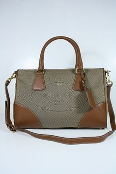 Prada Handbags Beige Brown Fabric and Brown Leather BL0833