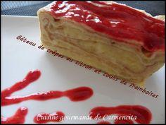 Gâteau de crêpes au citron et coulis de framboises http://www.carmen-cuisine.com/article-gateau-de-crepes-au-citron-et-coulis-de-framboises-98882562.html