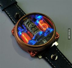 Steampunk Nixie Watch - Unusual Watches: - Watch Styles and Genres - Watch Freeks - Vacuum Tubes Unusual Watches, Amazing Watches, Beautiful Watches, Men's Watches, Cool Watches, Fashion Watches, Wrist Watches, Steampunk Watch, Expensive Watches