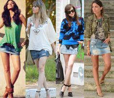 looks com mini saia jeans e modelos diferenciados de blusão