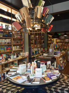 Colorful bookstore with a cafe place.