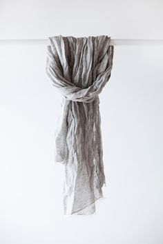Linen Scarf / Grey Linen / Unisex Scarf by LINOHAZE on Etsy