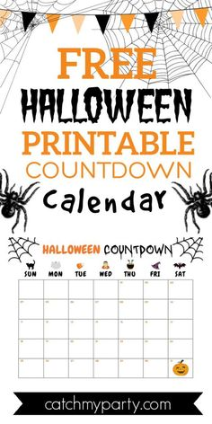 We've created this cute FREE Halloween printable countdown calendar for October, so you and your kids can easily see how quickly Halloween is coming. It's perfect for families and teachers so you can build up the Halloween excitement in your house. See more party ideas and share yours at CatchMyParty.com #catchmyparty #partyideas #freeprintable #halloweencountdowncalendar #printablehalloweencountdowncalendar Halloween Bingo Cards, Halloween Countdown, Halloween Printable, Halloween Party Favors, Halloween Celebration, Halloween Activities, Fun Activities For Kids, Party Activities, Family Halloween