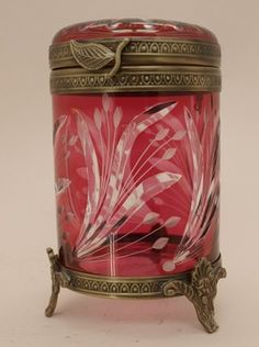Cut Glass Ruby Red Container with Lid Gilt Mounts | eBay