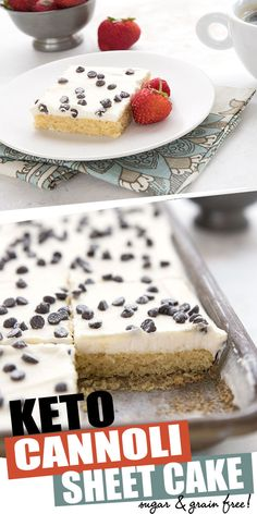 Cannoli Sheet Cake Keto sheet cake for the win! This deliciously tender sugar-free cake has all the great flavors of a traditional cannoli with almost none of the carbs. Easy to make and feeds a crowd! Low Carb Sweets, Low Carb Desserts, Low Carb Recipes, Ketogenic Desserts, Keto Snacks, Healthy Recipes, Keto Cake, Vanilla Sheet Cakes, Vanilla Cake