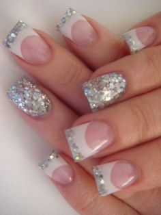 White & Glitter French tip manicure with a glitzy accent nail #♥