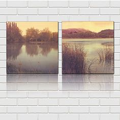 Mon Art 16x16 Inch x2 Pics Vintage Style Forest Lake Ditch Reed Hill Oil Painting Wall Art Modern Canvas Decor Abstract Picture on Canvas Gallery Brown Yellow Grey Stretched and Framed Ready to Hang * You can find more details by visiting the image link.