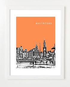 Amsterdam Poster  8x10 City Skyline Art Print  by BugsyAndSprite