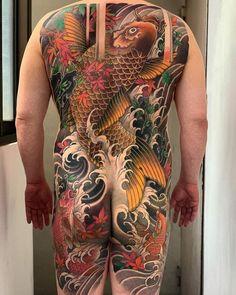 Carp Tattoo, Koi Fish Tattoo, Fish Tattoos, Back Piece Tattoo, Japanese Tattoo Art, Oriental Tattoo, Back Pieces, Tattoos Gallery, Lily