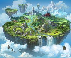 Storm Wars - Flying Island Map Illustration, Elena Konstantinova on ArtStation at https://www.artstation.com/artwork/odeEB