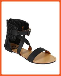 e1736f68eba Women Leatherette Open Toe Quilted Strappy Flat Sandal - Black Leatherette  -- See this great product. (This is an affiliate link)
