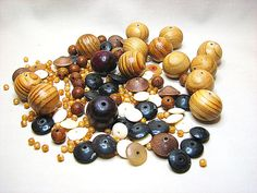 Bead soup Wood bone and horn beads