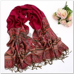 Wool Scarves-Ladies Long solid color fringed cotton scarf