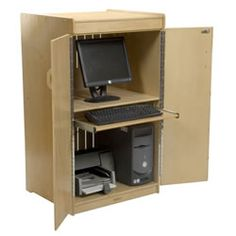 Locking Computer Cabinet - perfect for prek - when you need the computer it's there, but when you don't it's out of sight! $389.95  #PinIt2WinIt