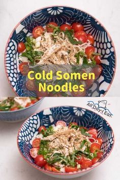 One of my favorite things to eat in the summer is cold somen. These Japanese noodles are light and refreshing and combining these with shiso tomato and a bit of sesame oil makes for an easy and tasty meal. But wait Theres more! Were adding chicken too Easy Japanese Recipes, Japanese Food, Asian Recipes, Gourmet Recipes, Dinner Recipes, Cooking Recipes, Japanese Noodles, Ethnic Recipes, Easy Recipes