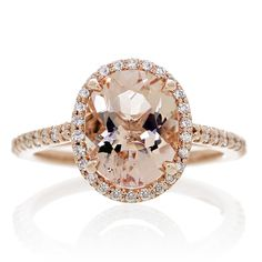 Morganite 10x8 oval cut 14k rose gold halo diamond engagement ring