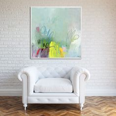 "ABSTRACT GICLEE, large print up to 40x40"" of modern Painting, express shipping, Abstract Art, Acrylic Painting, aqua, yellow, white"