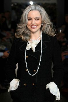 Hair Trend: Grey - celebrity hair and hairstyles. Check out the eyebrows. She went gray for a part.