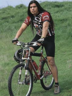 Native American Man- David Midthunder - Actor (wishing I was the *saddle* on his pushbike - he can sit on my face any time) ;)