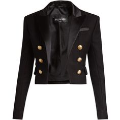 Balmain Satin-lapel cropped blazer (2 345 AUD) ❤ liked on Polyvore featuring outerwear, jackets, blazers, black, shoulder pad blazer, evening jackets, mini jacket, satin blazer jacket and satin jackets