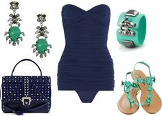 bandeau style bathing suit turquoise and blue one piece strapless with sandals and chunky enamel bangle