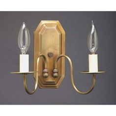 Antique Brass Two-Light Candelabra Wall Sconce