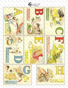 Printable Vintage Alphabet ABC Flash Cards Instant By Jbguess Would Be Cute For Pictures