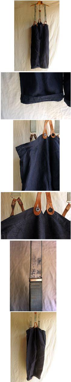 xvpbvx     20's~30'sフランス、インディゴリネンワークパンツです。 良い張りと揺らぎのある目の詰まった厚手インディゴリネンキャンバス、 深い色合いに茶色の2穴ボーンボタンが良く合っています。 両腰サイドにポケット、センターバック割れ、贅沢な素材で状態も良くお勧めの品です。 古い英軍のサスペンダーをおまけでお付けします。 大きめサイズですがサスペンダーで吊ると細身の方でも雰囲気のある着こなしができます。 なかなか見つからない珍しいものですのでこの機会に如何でしょうか。 SIZE ウエスト