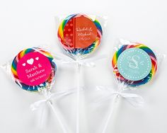 Sweet Swirl Personalized Lollipop  (Set of 12)--- Joanna: if we were to purchase 21 sets of 12 (252 lollipops) its only $12.