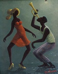 "Orville Bulman Jazz Club consisting of African American New Orleans Jazz Club inspired paintings by Orville Bulman like ""Hot Trombone,"" and the ""Hot Horn"" series. African American Art, African Art, American Artists, Harlem Renaissance Artists, New Orleans Art, African Theme, Dance Paintings, Jazz Art, Black Love Art"