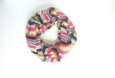 Colorful Infinity Scarf Rainbow Scarf Striped by FashionelleStudio